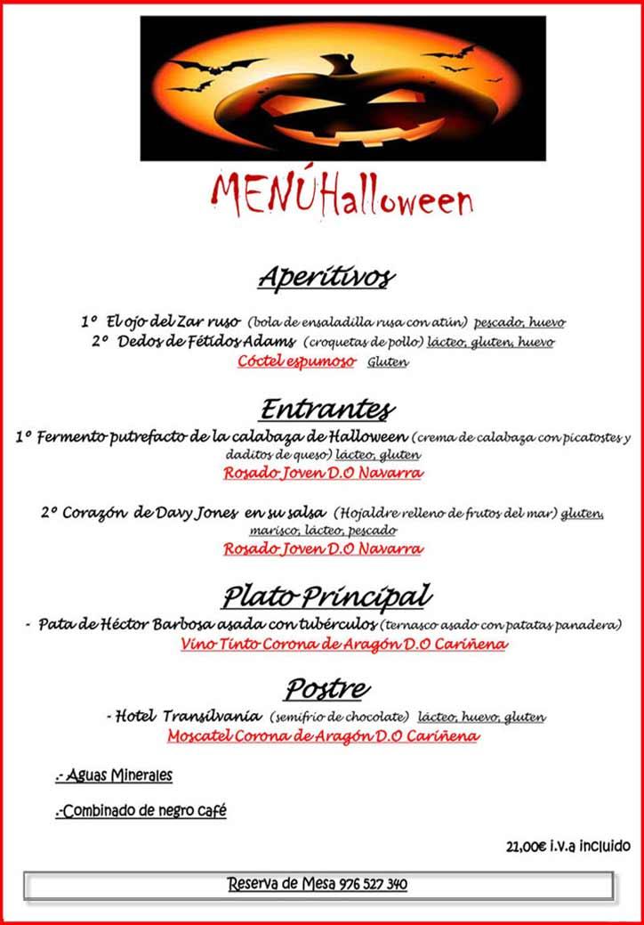 Menú de Halloween 2018 en Topi