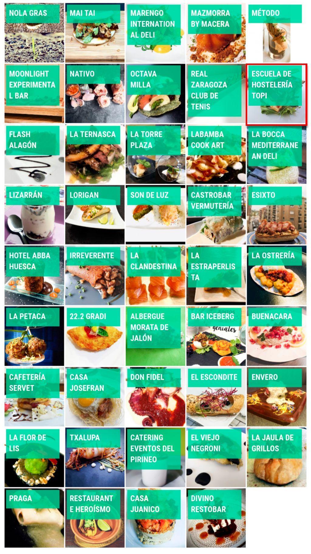 Bares y Restaurantes participantes Concurso Día Virtual de la Tapa